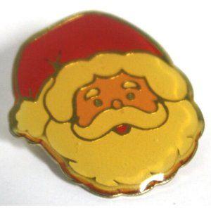 Vintage Santa Claus Face Pin Back Brooch